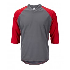 Mens 3/4 Sleeve Mountain Bike Jersey Gray/Red